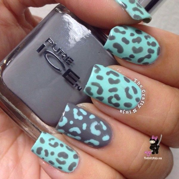 Alright. Start by painting your nails mint and grey. Now, using the opposite colour, draw some shapes. These are the kind of things you base them on: ( )   C    in words, some bracket shapes, c shapes, and a few messy dots. Once it is dry, add a matte top coat. Now enjoy showing it to your friends.
