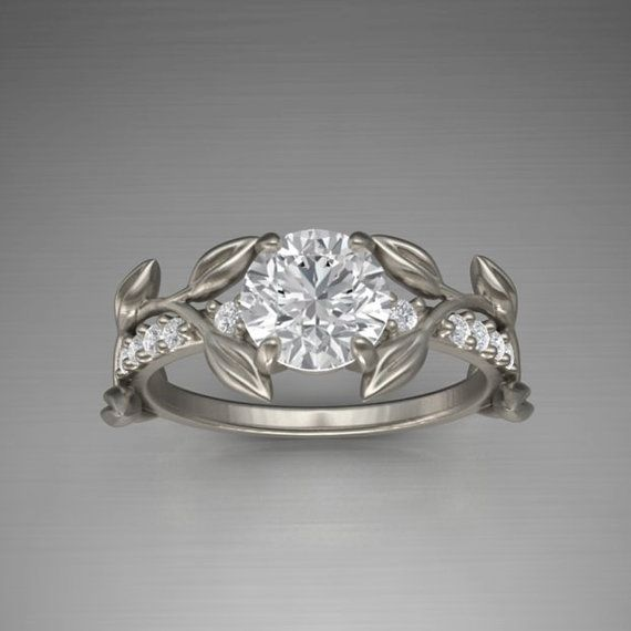 Leaf Engagement ring White Gold 14kMoissanite by YerazCollection