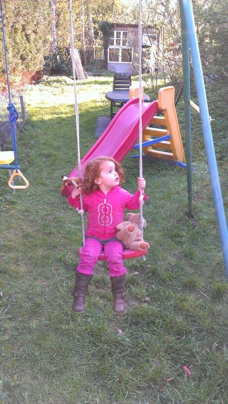On the swing @ daddys backyard