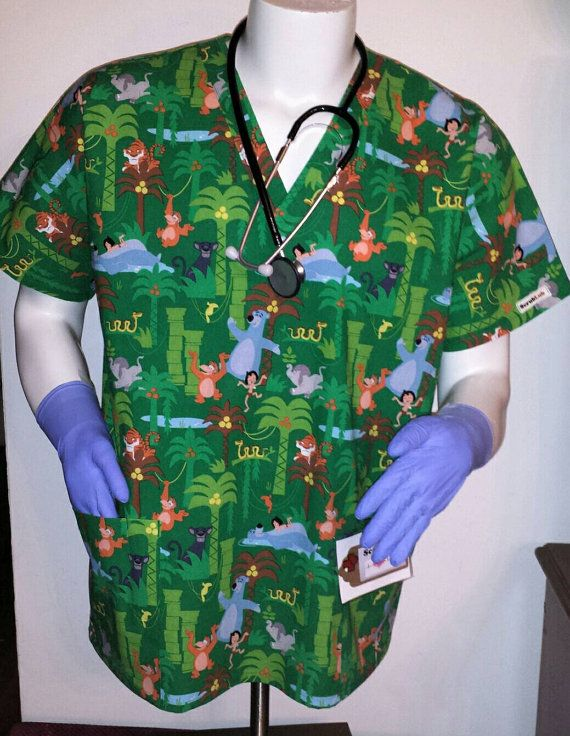 Livre de la jungle Scrub haut!! Particulièrement adapté pour les hommes : murses, vétérinaires, infirmiers dentaires CNAs de l
