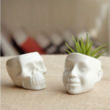 White Ceramic Cool Skull Capita Plants Potted Small Flower Pot Planter Succulent Home Decor Desktop Ornaments(China (Mainland))