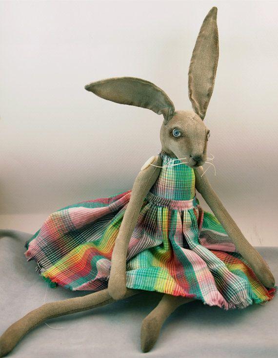 Folk Art Rabbit doll painted cloth soft by CindyRiccardelli, $165.00