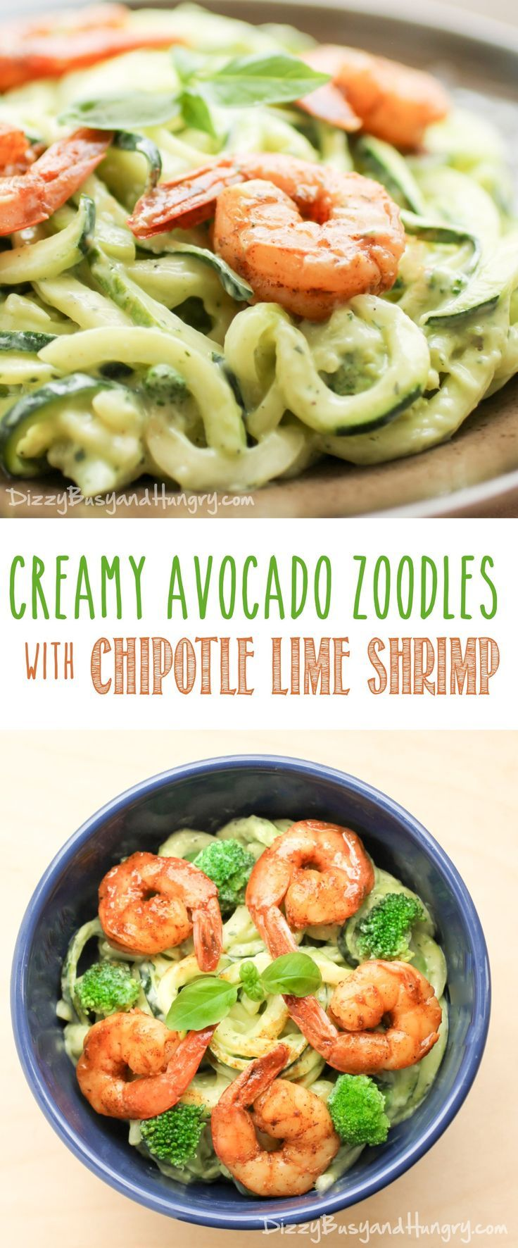 Creamy Avocado Zoodles with Chipotle Lime Shrimp | DizzyBusyandHungry.com - Zucchini noodles smothered in a creamy avocado sauce and topped with zingy, tangy shrimp!