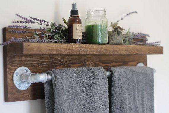 Rustic Industrial Bath Towel Rack Bathroom by DunnRusticDesigns