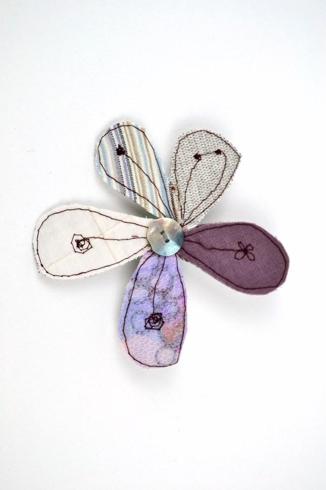 Droplets Textiles Brooch - Emily Notman Mixed Media on Folksy