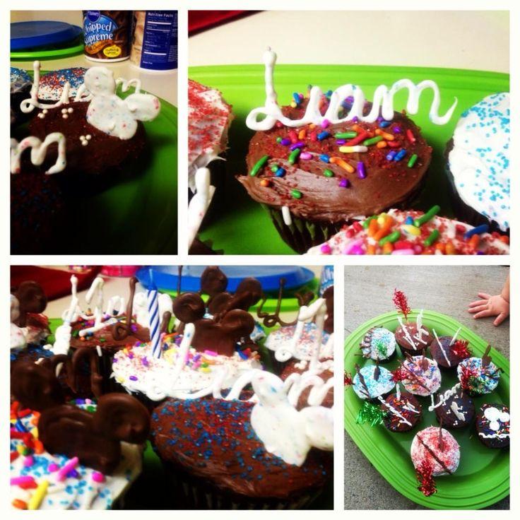 Creative Mickey cupcakes! Chocolate names and heads I Madeline Liam!:)  -Zaida Hernandez