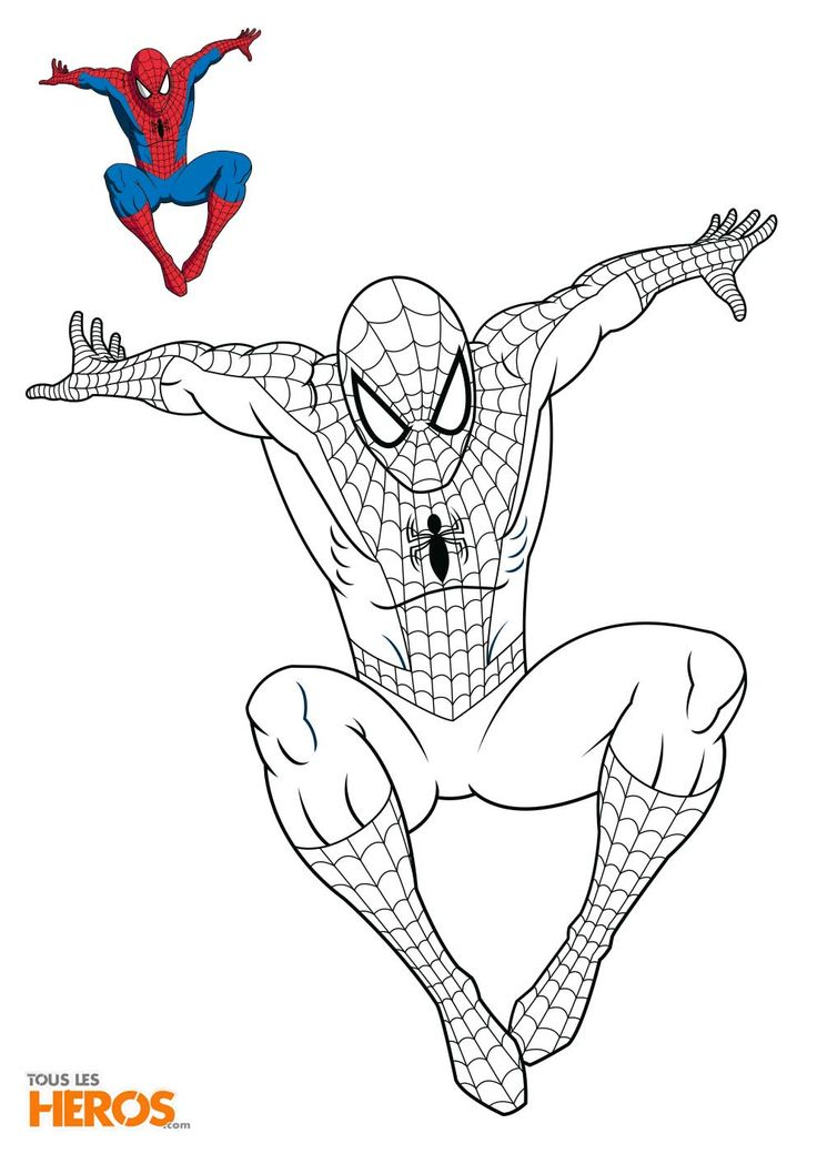 Coloriage Spiderman en train de sauter sur son ennemi | Coloriage spiderman, Coloriage, Dessin ...