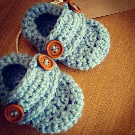 Organic Crochet Baby Blue Loafers Shoes. Baby by TheCottonDuckOK