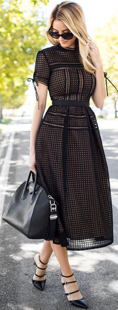 Little Black Eyelet, Midi Dress / fall fashion Inspiration.