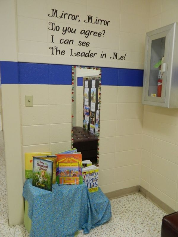 """Mirror, Mirror do you agree? I can see the Leader In Me!"" Hallway display by whitney"