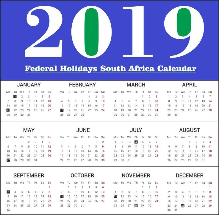 South Africa 2019 Printable Calendar With Holidays