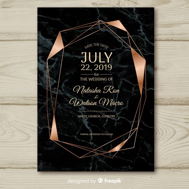 Dark Geometric Wedding Invitation Template Free Vector