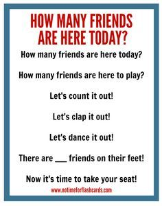 """Classroom Management: Cute """"How many friends are here today?"""" counting song. Great way to transition & get the wiggles out."""
