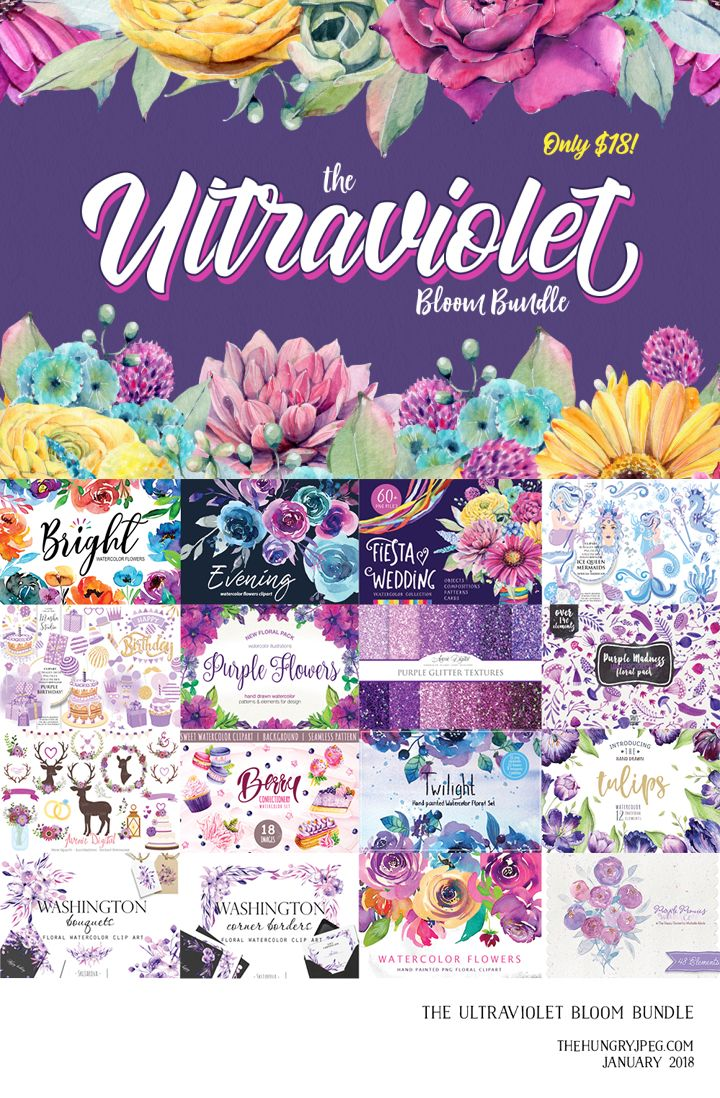 Free Ultraviolet Kiss Watercolor Floral Collection