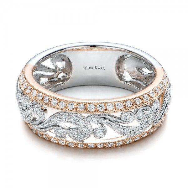 Two tone diamond wedding bands for women joseph jewelry for Two tone wedding rings for women