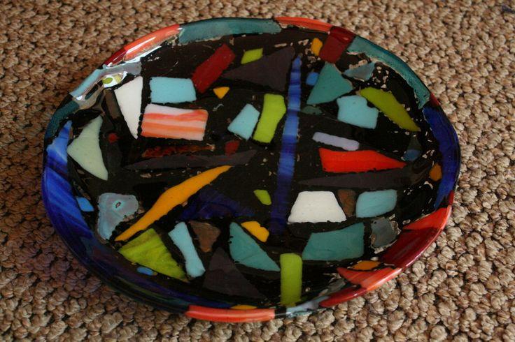 "Multi-colored Art Glass Plate Handmade 10 3/4"" Stunning!"