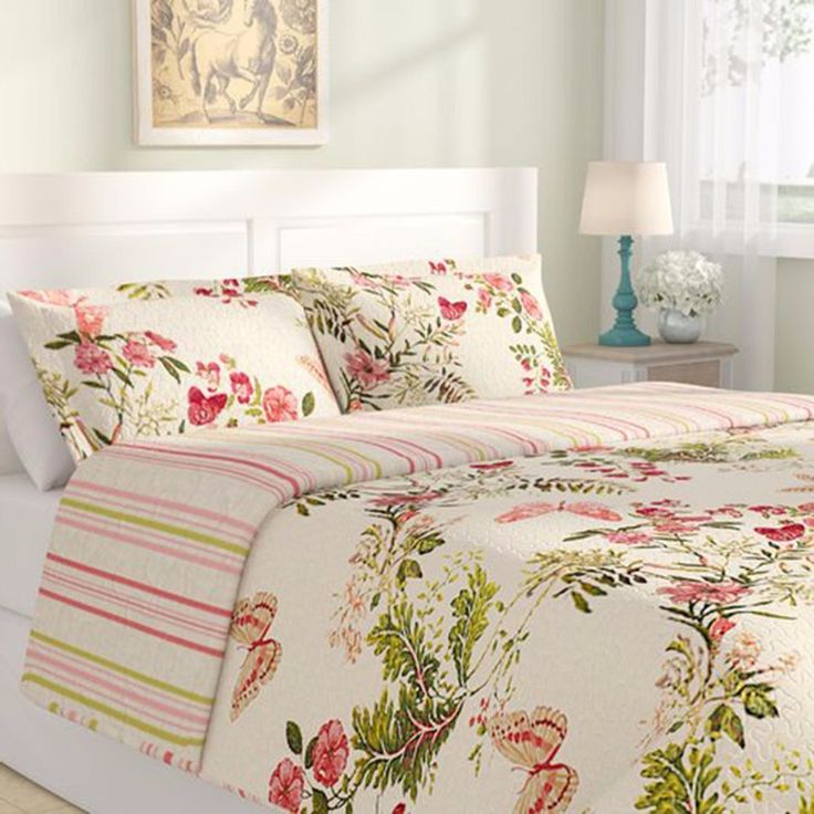 Twin Size Quilt Set Shams Reversible Bedspread Coverlet Cotton Floral Print  #Unbranded #Country