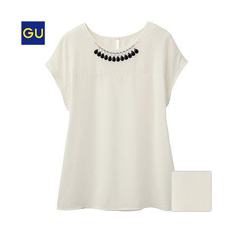 (GU)Tブラウス(ビジュー・半袖) - GU ジーユー