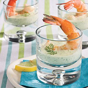 Green Goddess Dipping Sauce     Parsley, dill, and tarragon pack this creamy sauce with herb-fresh flavor. There's no need for chopping; the sauce is super easy to prepare in the food processor. Serve with boiled shrimp or veggies.
