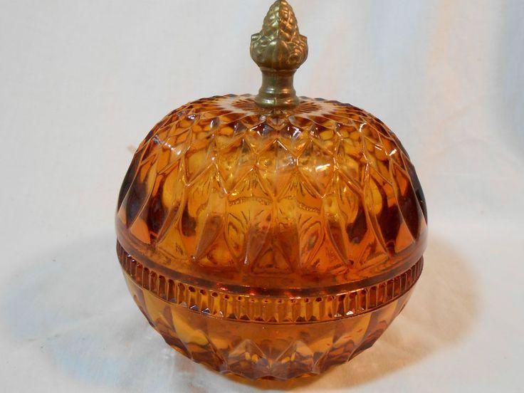 Vintage Amber Cut Glass 2 Piece Candy Dish Diamond Glass w ...