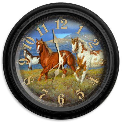 "ReflectiveArt Wild Horse 16"" Classic Wall Clock"