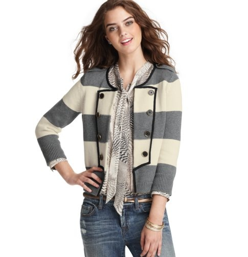 sweater blazers are the absolute bomb. all the polish of a blazer, but none of the stiffness. love, love, love. and if loving sweater blazers and nautical stripes is wrong, i don't want to be right.