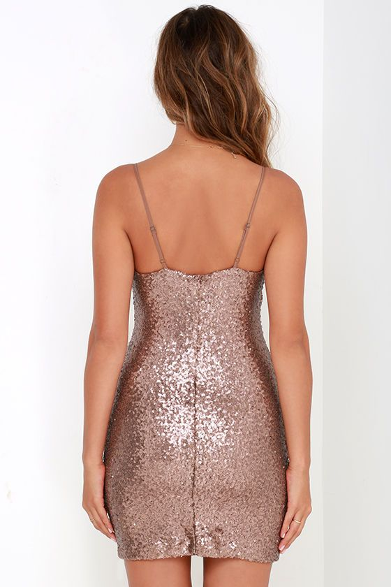 Stream of Thought Bronze Sequin Bodycon Dress 2