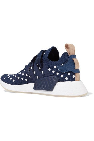 adidas Originals - Nmd_r2 Leather-trimmed Polka-dot Primeknit Sneakers - Storm blue - US