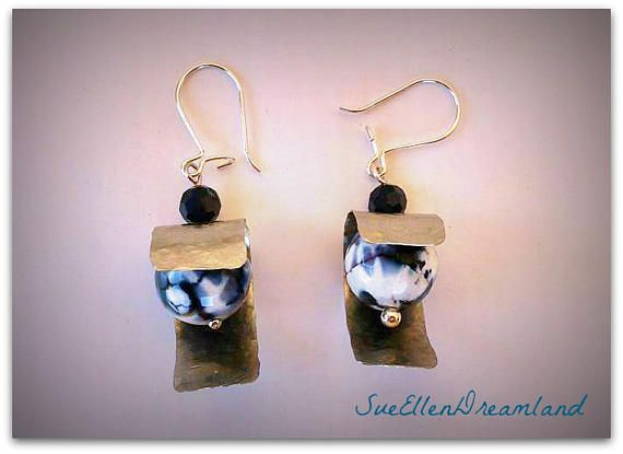Faceted Gemstone Earring Dragon Vein Agate black white earrings metal agate earring,dangling earrings,summer trend,OOAK,gift for her