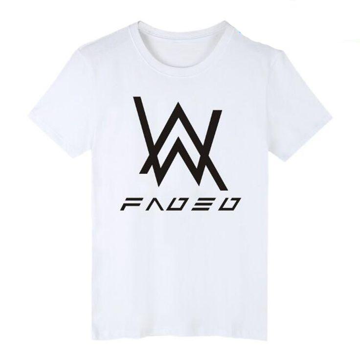Summer Fashion Men's T Shirt Alan Walker faded Short Sleeve T-Shirt Mens Clothing Hip-hop Music DJ Tee Shirt Homme Male Tops 4XL #Affiliate
