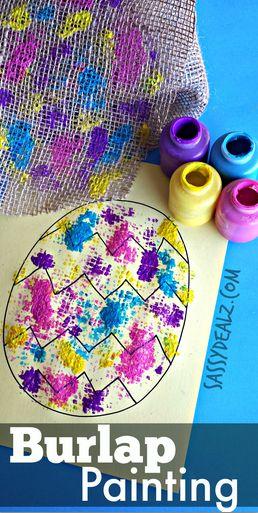 Burlap Easter Egg Painting Activity for Kids #Easter craft | http://www.sassydealz.com/2014/03/burlap-easter-egg-painting-activity-kids.html