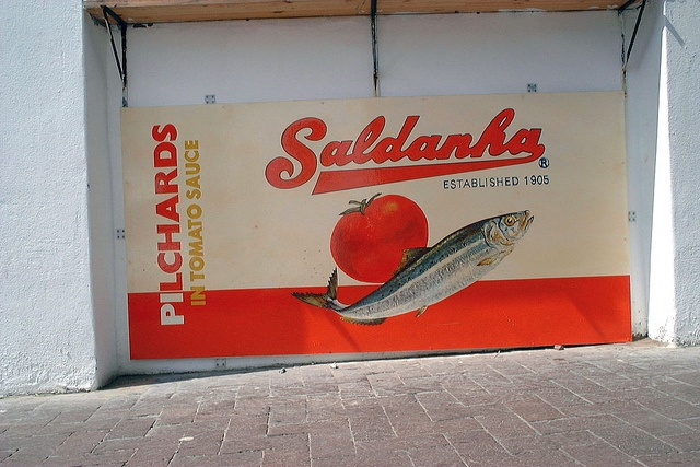 'Ek en Jy' Restaurant/take-away  Pilchards    Decorative commercial branding for the shop front.  Enamel paint on mounted metal sheeting 1 x 2 meters.