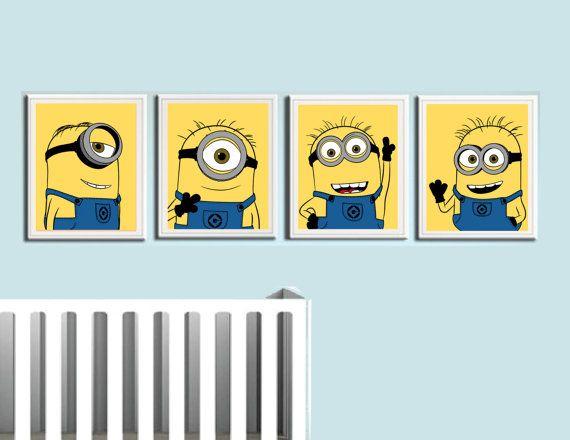 Despicable Me- Minions nursery art prints. Kids Wall Art.
