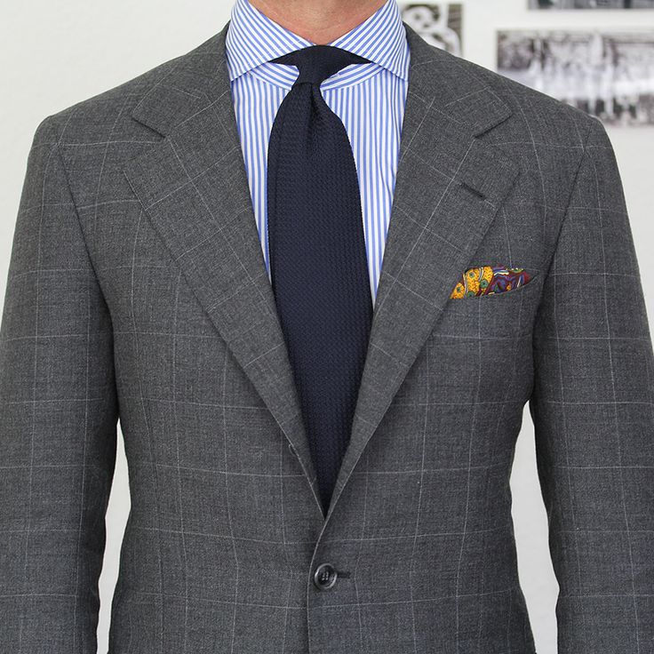 Grey Windowpane Suit Blue Striped Shirt Solid Tie Suit