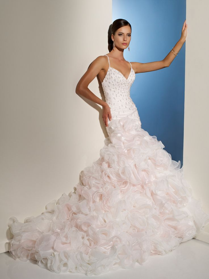Pink And White Mermaid Wedding Dress Has Fluted Ruffled Edges For A Dramatic Look