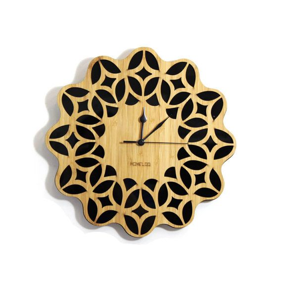 Retro Sunburst Bamboo Wood Wall Clock 60s Floral Black by HOMELOO