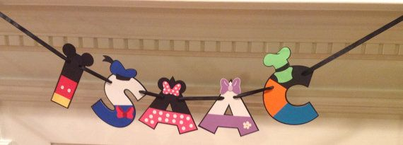 This listing is for a custom made NAME banner styled after the Mickey Mouse Clubhouse Characters. Letters are approx 5in and strung on Black