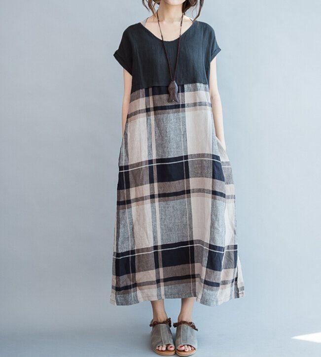 Loose fitting long maxi dress Sleeveless long sundress in Black/ Khaki de MaLieb en Etsy https://www.etsy.com/es/listing/101929064/loose-fitting-long-maxi-dress-sleeveless