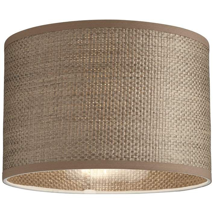 Gray Raffia Grass Weave Drum Lamp Shade 12x12x8 Spider 73d84 Lamps Plus Drum Lampshade Lamp Shade Lamp