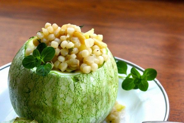 Zucchini Stuffed with Couscous, Pine Nuts, and Feta Cheese