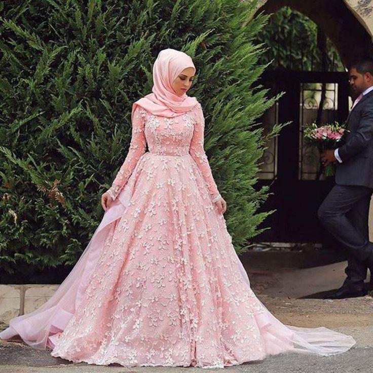 OMY132 2016 Newest Casamento Pink Wedding Dress For Muslim Women Long Sleeve Appliques Saudi Arabia Bridal Ball Gown - http://www.onestopweddingstore.com/products/omy132-2016-newest-casamento-pink-wedding-dress-for-muslim-women-long-sleeve-appliques-saudi-arabia-bridal-ball-gown/