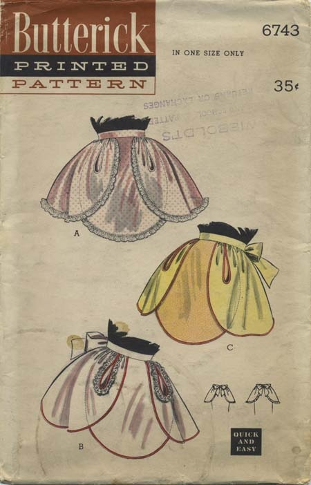 Vintage Apron Sewing Pattern | Butterick 6743 | Year 1953 | One Size