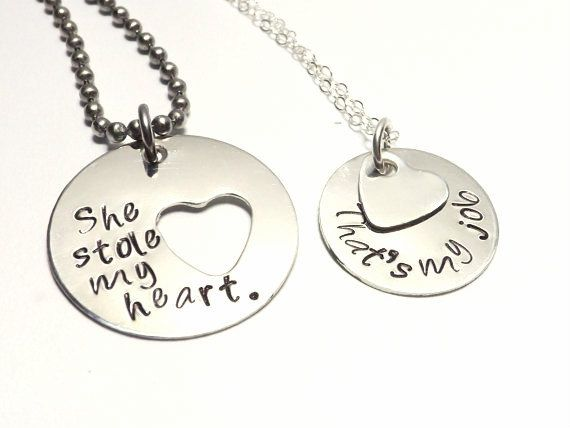 Hand Stamped Sterling Silver His and Her Necklace Set-Stole My Heart, That's My Job, Humorous Jewelry, Military Couple, Deployment Jewelry by MissAshleyJewelry $53