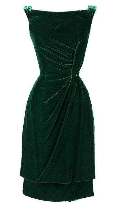 Vintage 1950's Ceil Chapman Emerald Green Silk Velvet Dress