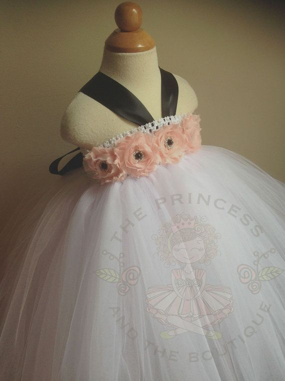 White flower girl dress with blush flowers and black accents. Order at www.theprincessandthebou.etsy.com