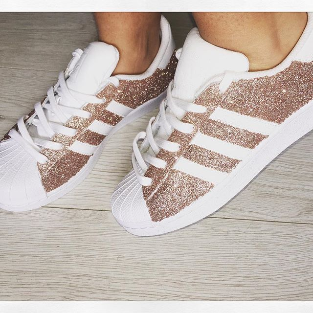 Wow lots of orders coming in for these! Custom made rose gold glitter adidas superstars, this colour ...