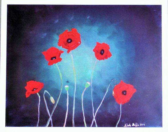 Perky Poppies Art Print 8x10 by NicoleInStitches on Etsy