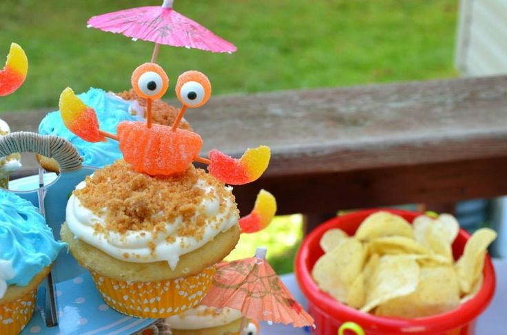 Beach Themed Children's Party: Crab Cupcakes