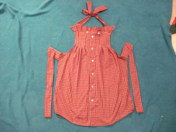 Red Plaid Apron Upcycled from a Men's Dress Shirt