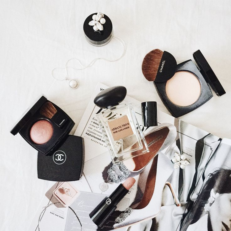 Flatlay with cosmetics and perfume  Channel, Armani, vogue